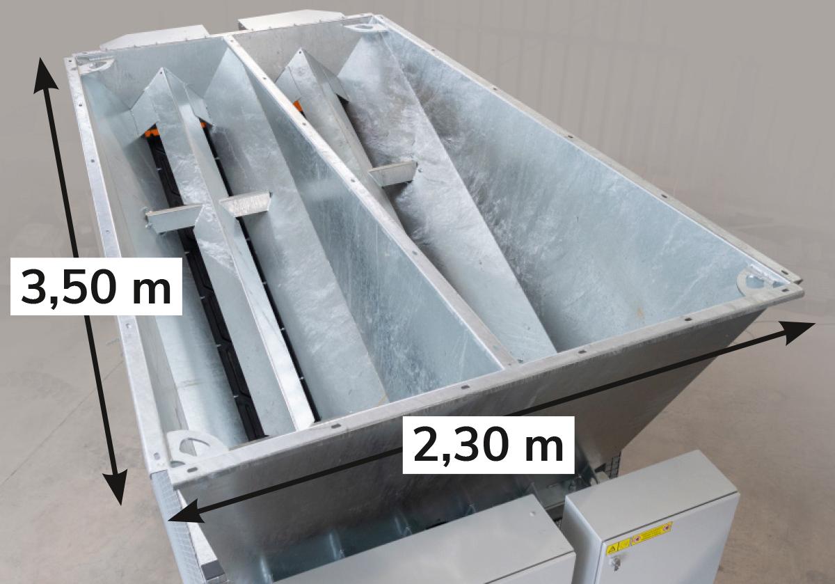 Réserve de stockage (avec profondeur et largeur spécifiées pour le chargement)
